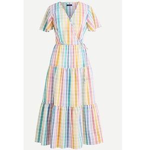 J. Crew Wrap Dress Rainbow Gingham 16 XL Checkers